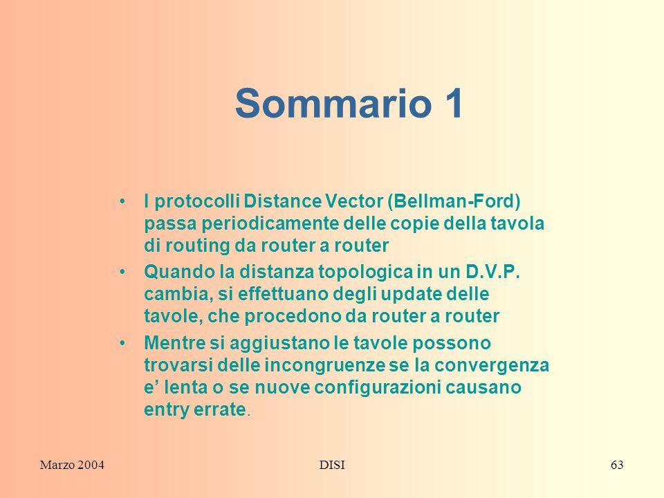Sommario 1 I protocolli Distance Vector (Bellman-Ford) passa periodicamente delle copie della tavola di routing da router a router.