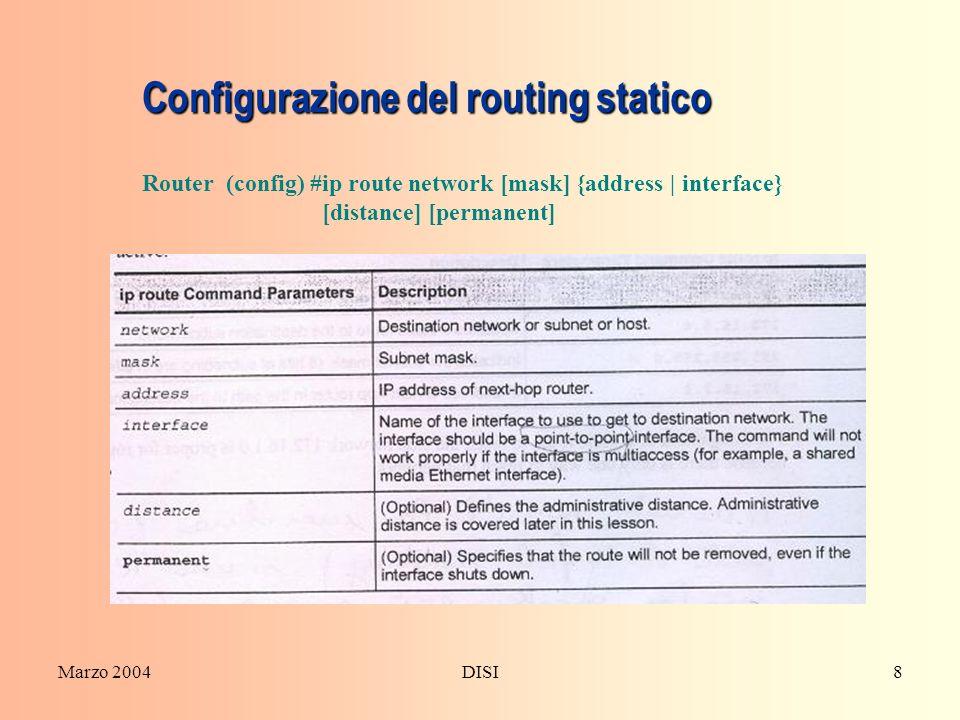 Configurazione del routing statico