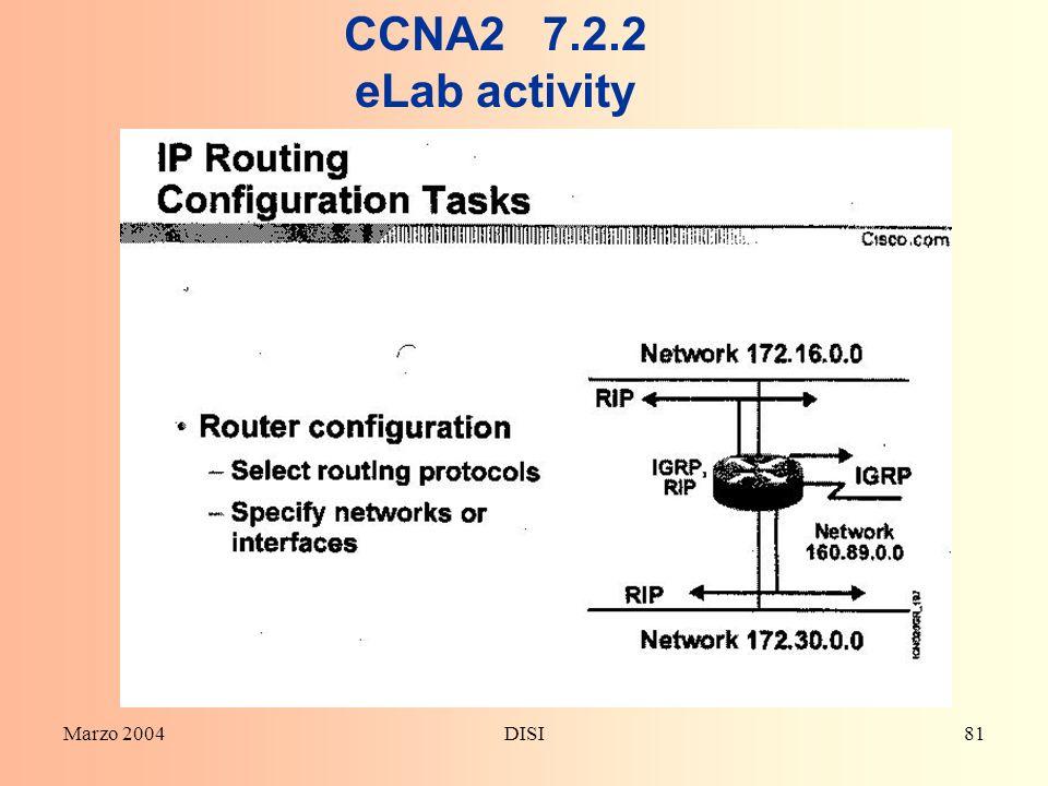 CCNA2 7.2.2 eLab activity Marzo 2004 DISI