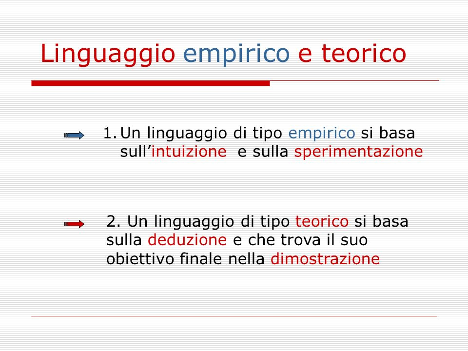 Linguaggio empirico e teorico