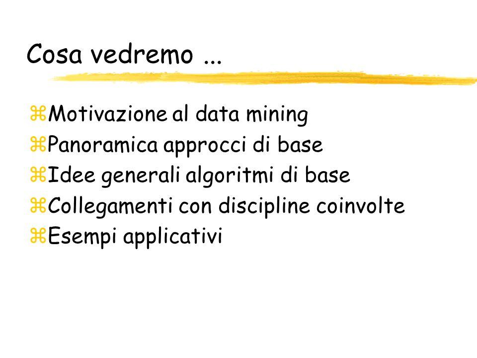 Cosa vedremo ... Motivazione al data mining