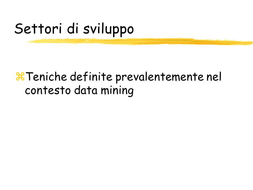 Settori di sviluppo Teniche definite prevalentemente nel contesto data mining