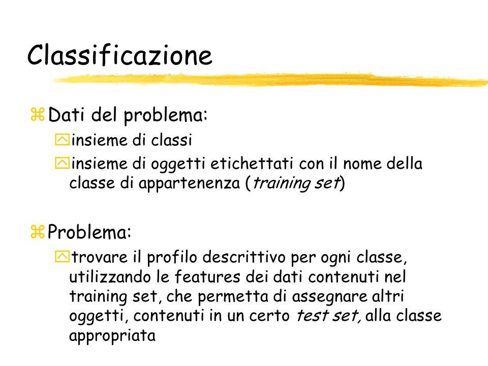 Classificazione Dati del problema: Problema: insieme di classi