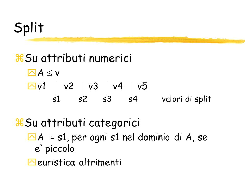 Split Su attributi numerici Su attributi categorici A  v