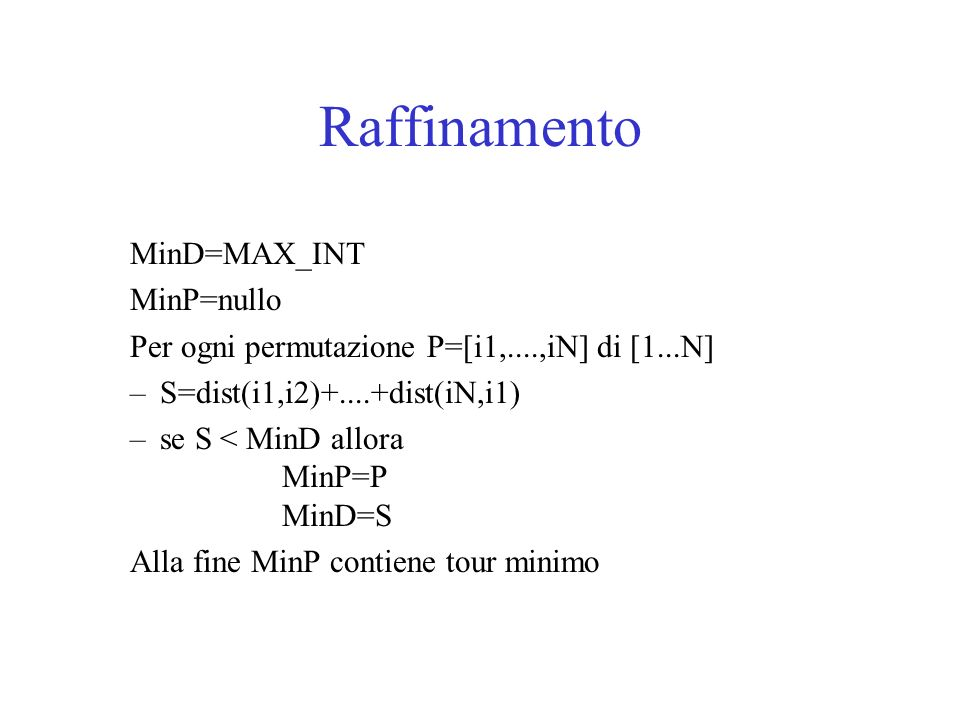 Raffinamento MinD=MAX_INT MinP=nullo