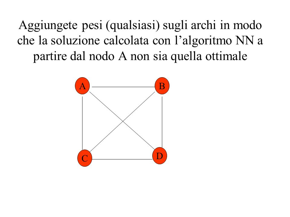 Aggiungete pesi (qualsiasi) sugli archi in modo che la soluzione calcolata con l'algoritmo NN a partire dal nodo A non sia quella ottimale
