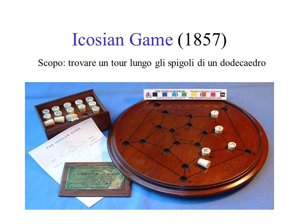 Icosian Game (1857) Scopo: trovare un tour lungo gli spigoli di un dodecaedro