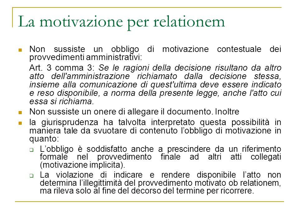 La motivazione per relationem