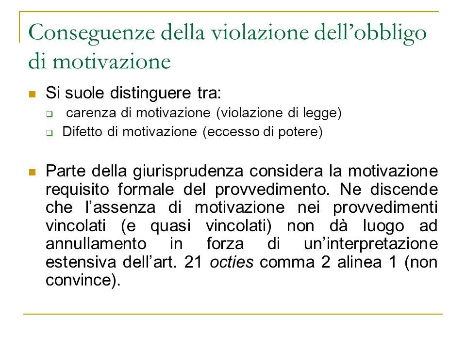 Conseguenze della violazione dell'obbligo di motivazione