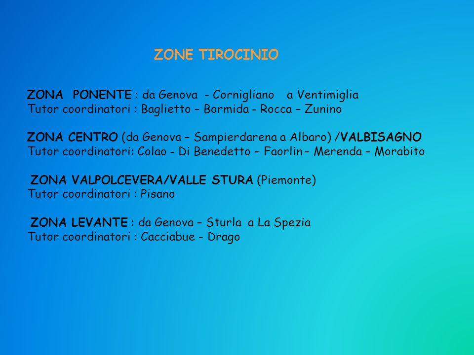 ZONE TIROCINIO ZONA PONENTE : da Genova - Cornigliano a Ventimiglia