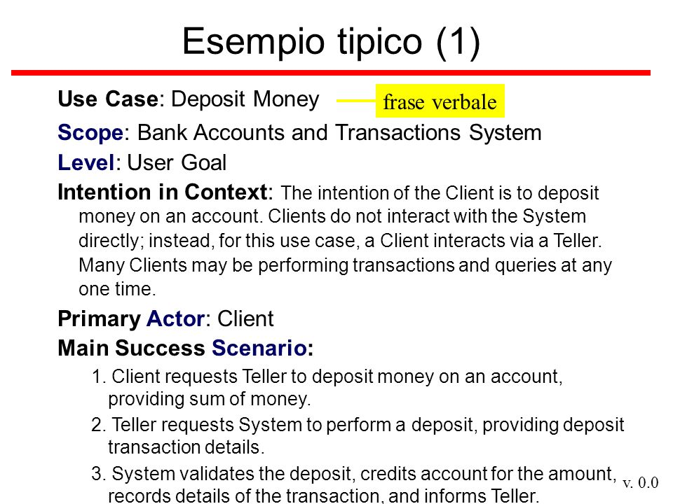 Esempio tipico (1) Use Case: Deposit Money frase verbale