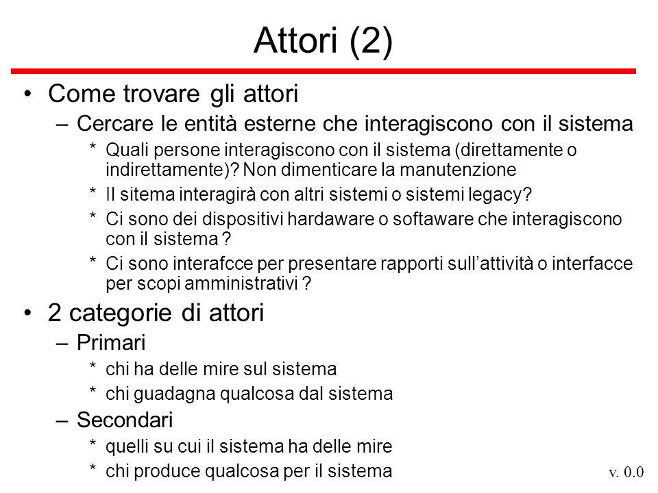 Attori (2) Come trovare gli attori 2 categorie di attori