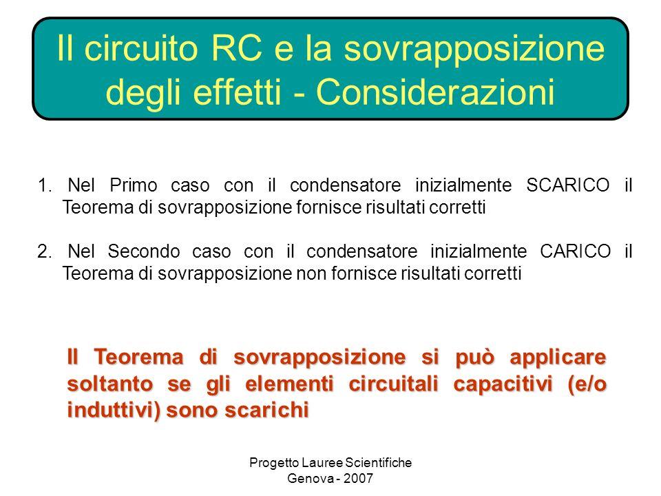 Il circuito RC e la sovrapposizione degli effetti - Considerazioni
