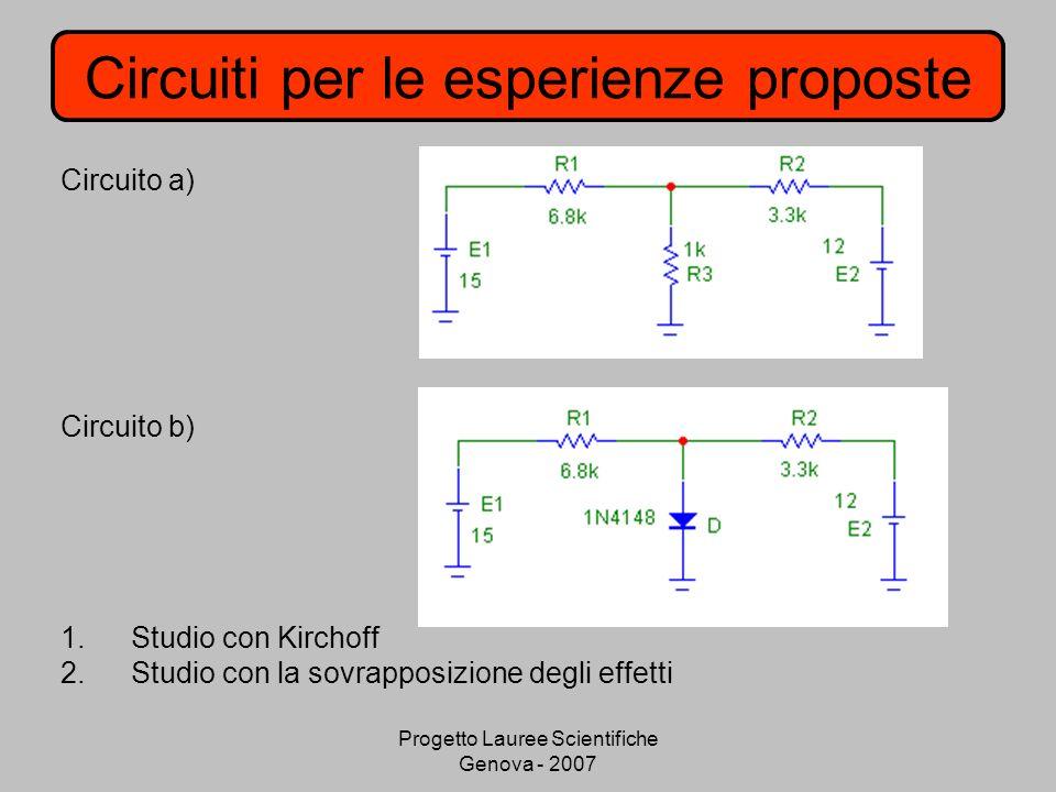 Circuiti per le esperienze proposte