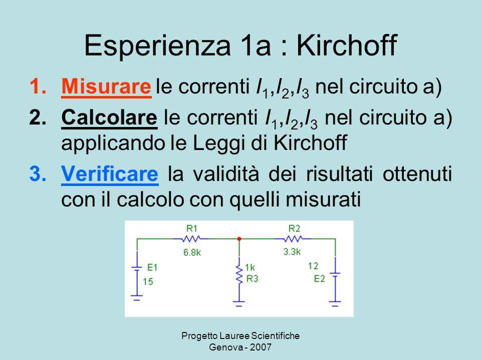 Esperienza 1a : Kirchoff
