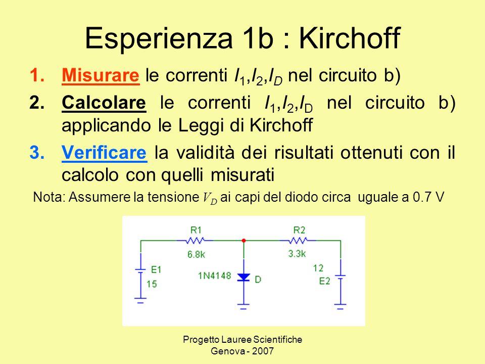 Esperienza 1b : Kirchoff