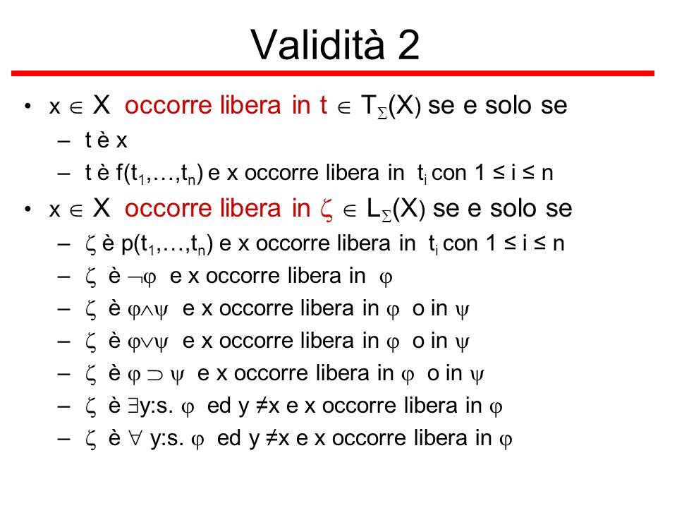 Validità 2 x  X occorre libera in t  TS(X) se e solo se t è x