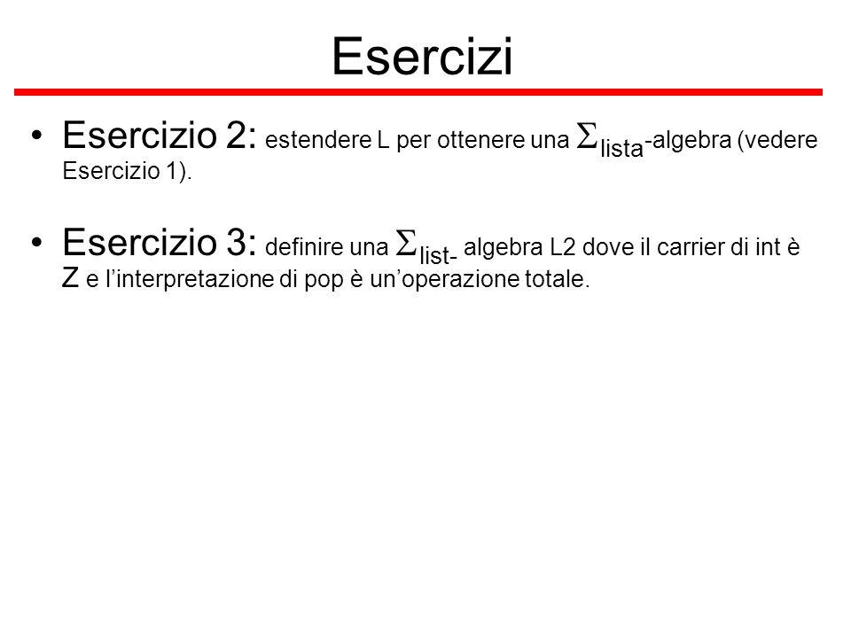 Esercizi Esercizio 2: estendere L per ottenere una Slista-algebra (vedere Esercizio 1).
