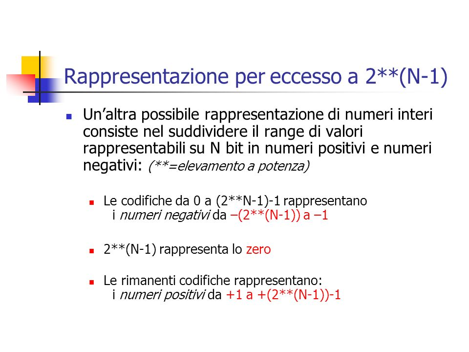Rappresentazione per eccesso a 2**(N-1)