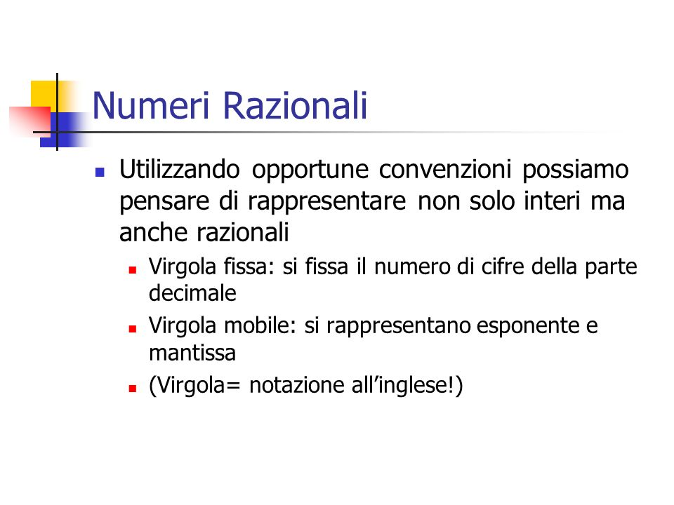 Numeri RazionaliUtilizzando opportune convenzioni possiamo pensare di rappresentare non solo interi ma anche razionali.