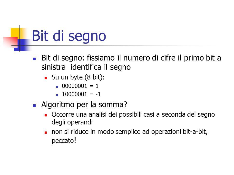 Bit di segno Bit di segno: fissiamo il numero di cifre il primo bit a sinistra identifica il segno.