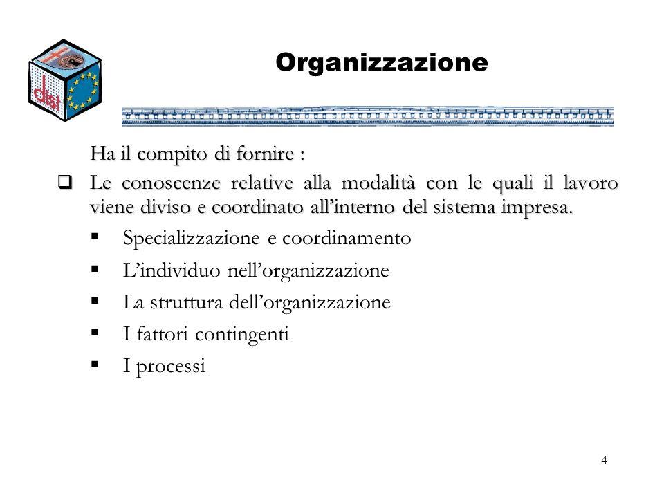 Organizzazione Ha il compito di fornire :