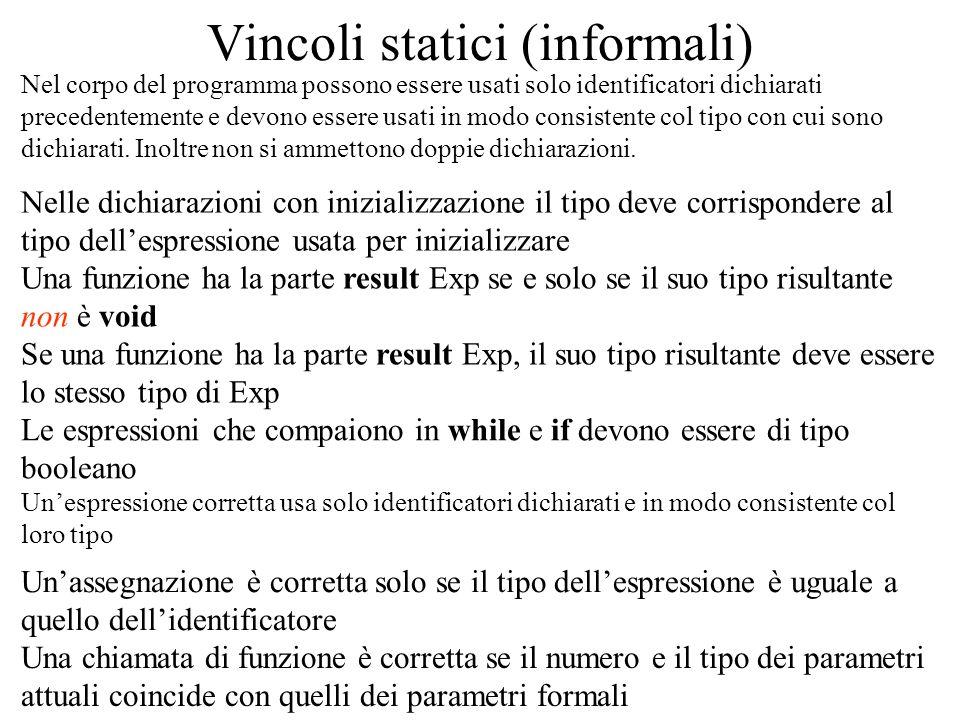 Vincoli statici (informali)