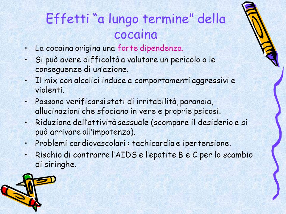 Effetti a lungo termine della cocaina