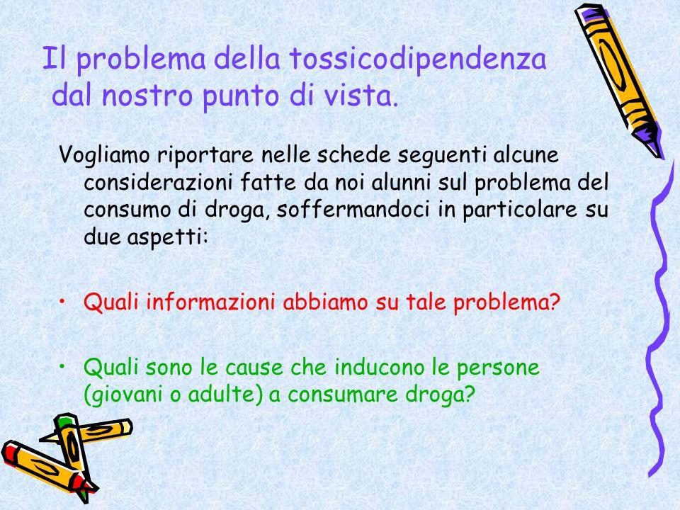 Il problema della tossicodipendenza dal nostro punto di vista.