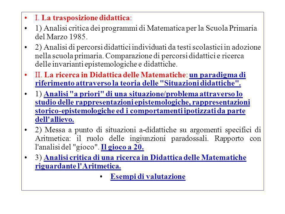 I. La trasposizione didattica: