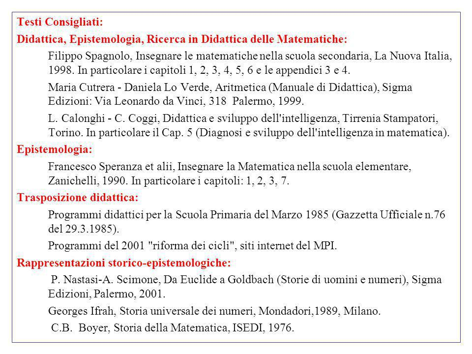 Testi Consigliati:Didattica, Epistemologia, Ricerca in Didattica delle Matematiche: