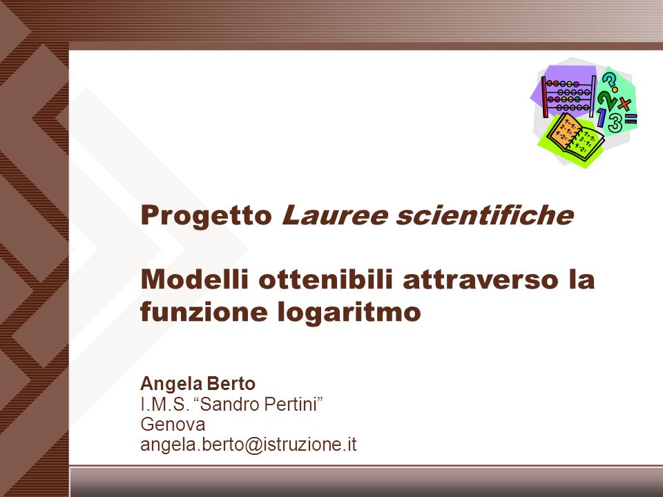Angela Berto I.M.S. Sandro Pertini Genova angela.berto@istruzione.it