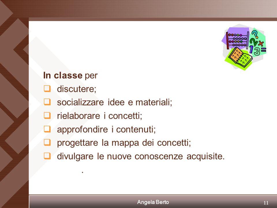 In classe per discutere; socializzare idee e materiali; rielaborare i concetti; approfondire i contenuti;