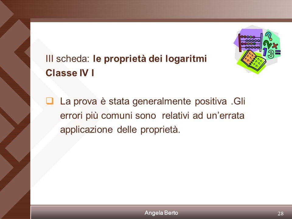 III scheda: le proprietà dei logaritmi