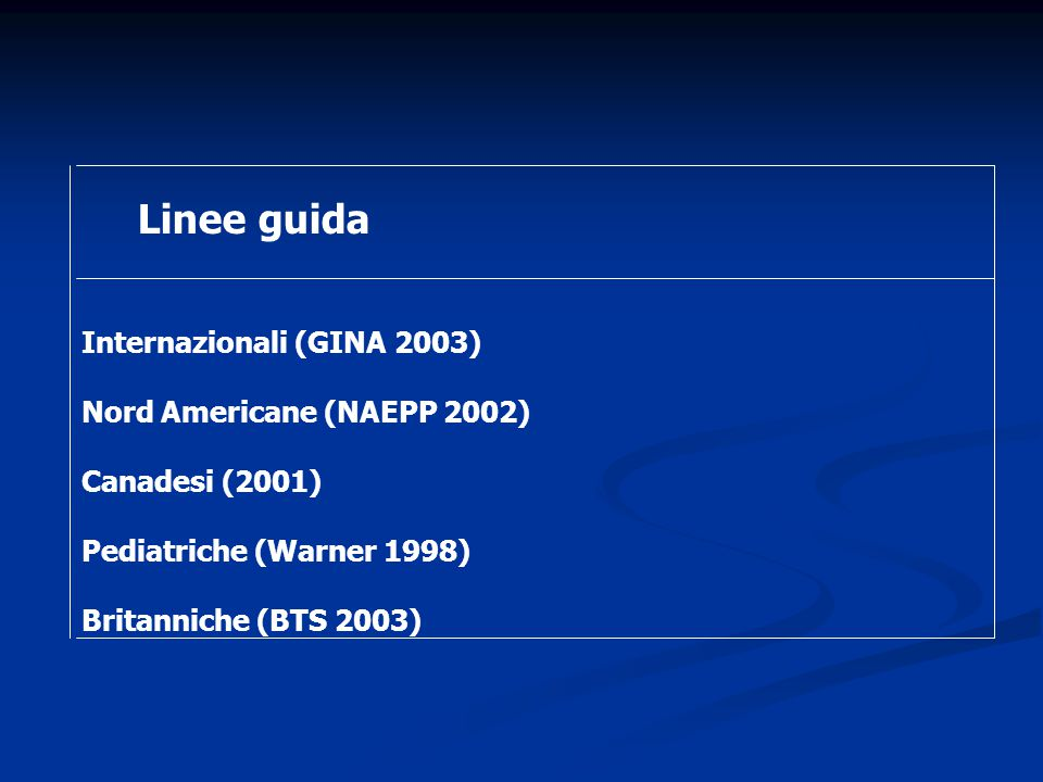 Linee guida Internazionali (GINA 2003) Nord Americane (NAEPP 2002)
