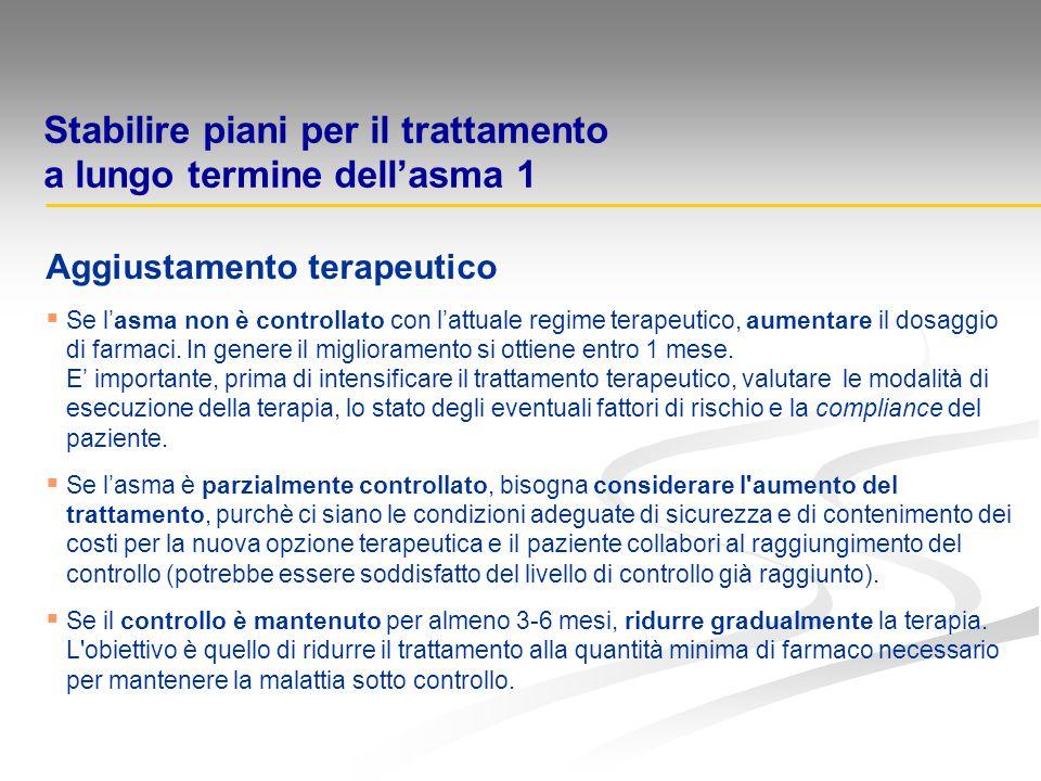 Stabilire piani per il trattamento a lungo termine dell'asma 1