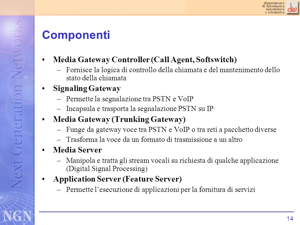 Componenti Media Gateway Controller (Call Agent, Softswitch)