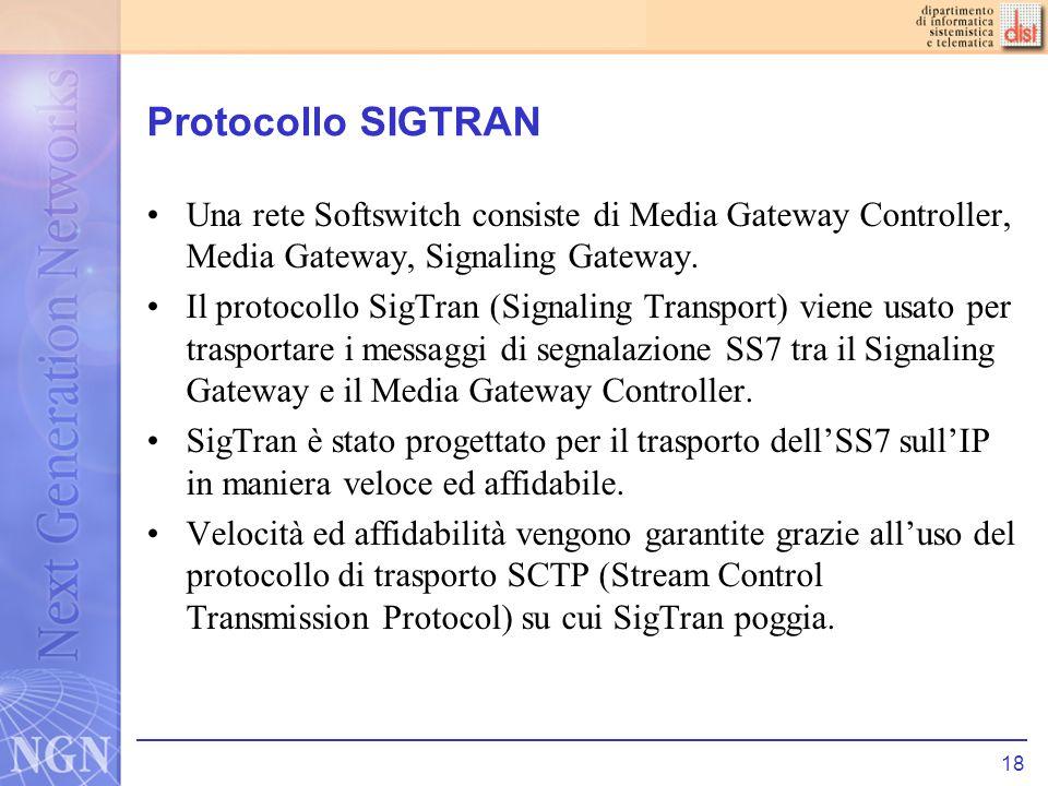 Protocollo SIGTRANUna rete Softswitch consiste di Media Gateway Controller, Media Gateway, Signaling Gateway.