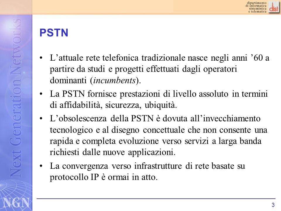 PSTN L'attuale rete telefonica tradizionale nasce negli anni '60 a partire da studi e progetti effettuati dagli operatori dominanti (incumbents).