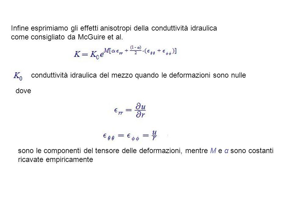 Infine esprimiamo gli effetti anisotropi della conduttività idraulica come consigliato da McGuire et al.