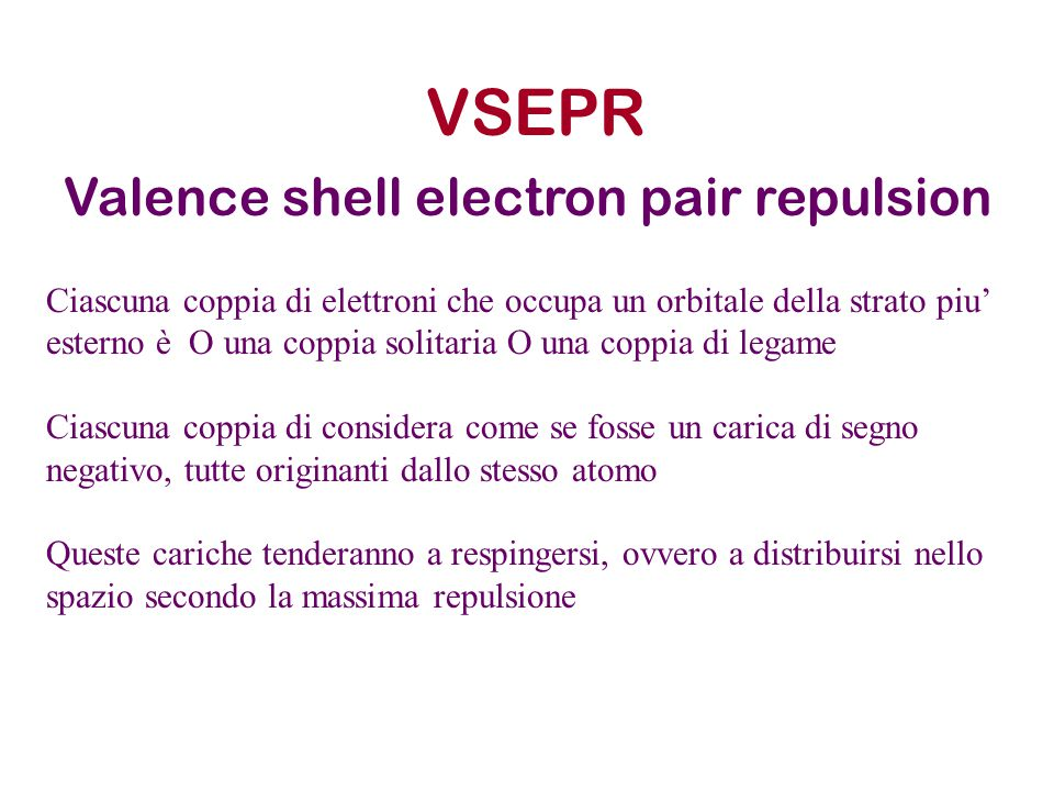 VSEPR Valence shell electron pair repulsion