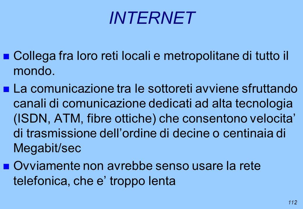 INTERNET Collega fra loro reti locali e metropolitane di tutto il mondo.