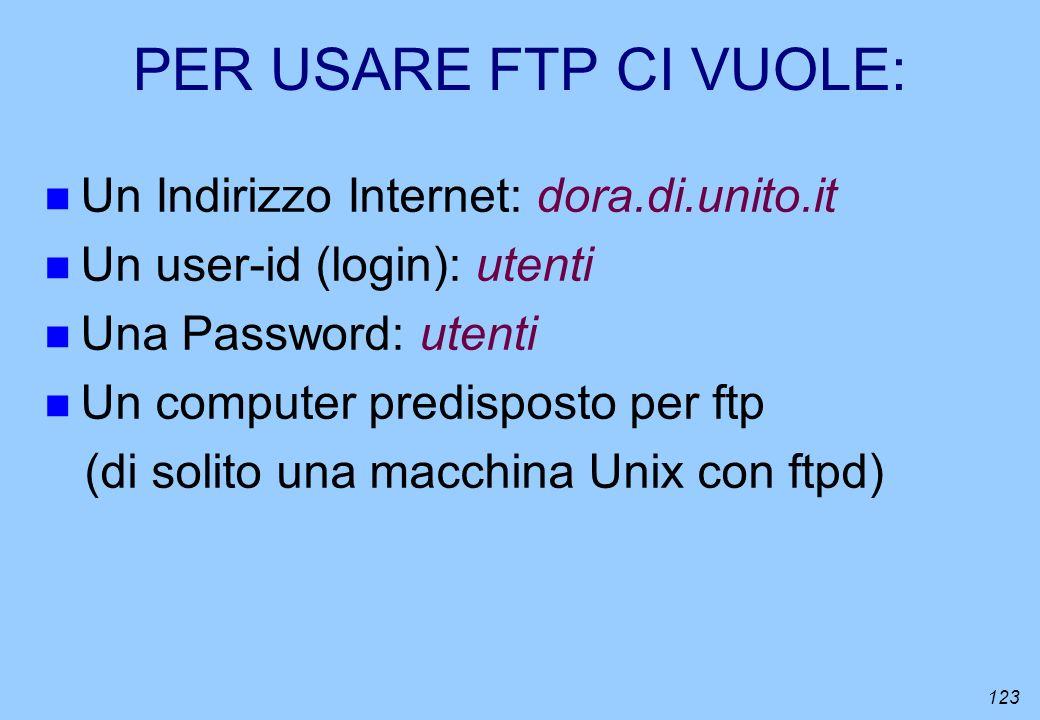 PER USARE FTP CI VUOLE: Un Indirizzo Internet: dora.di.unito.it