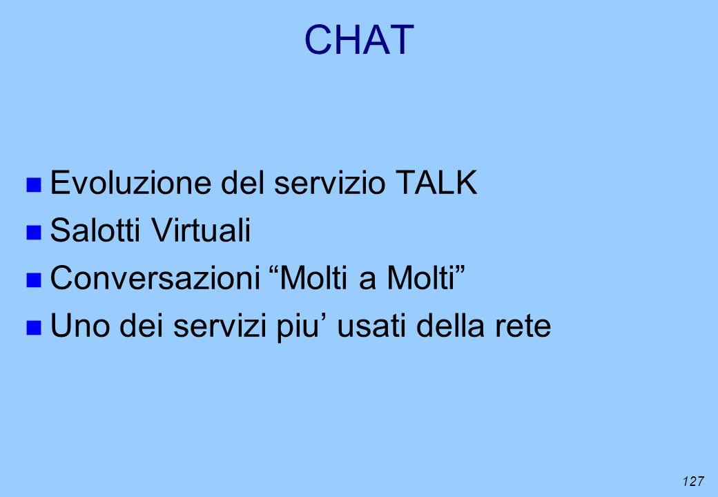 CHAT Evoluzione del servizio TALK Salotti Virtuali