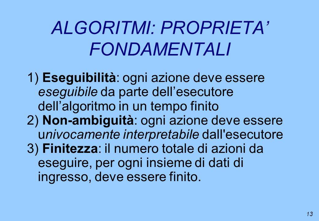 ALGORITMI: PROPRIETA' FONDAMENTALI