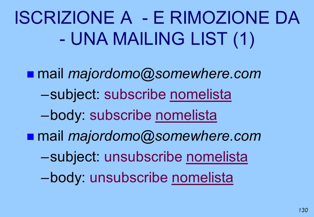 ISCRIZIONE A - E RIMOZIONE DA - UNA MAILING LIST (1)