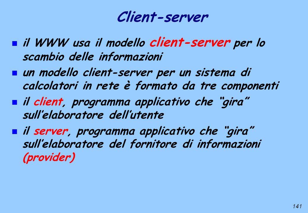Client-server il WWW usa il modello client-server per lo scambio delle informazioni.