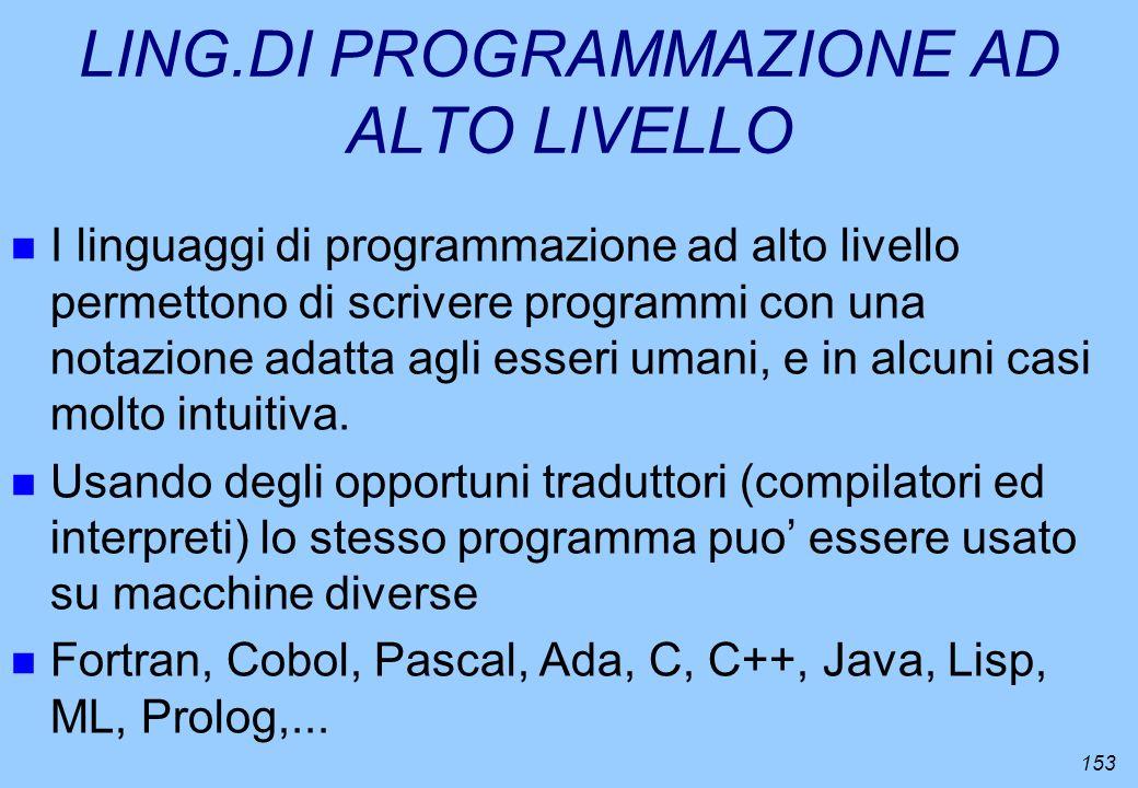 LING.DI PROGRAMMAZIONE AD ALTO LIVELLO