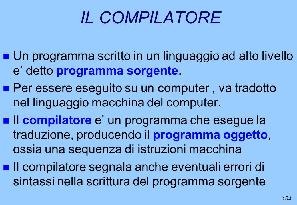 IL COMPILATORE Un programma scritto in un linguaggio ad alto livello e' detto programma sorgente.