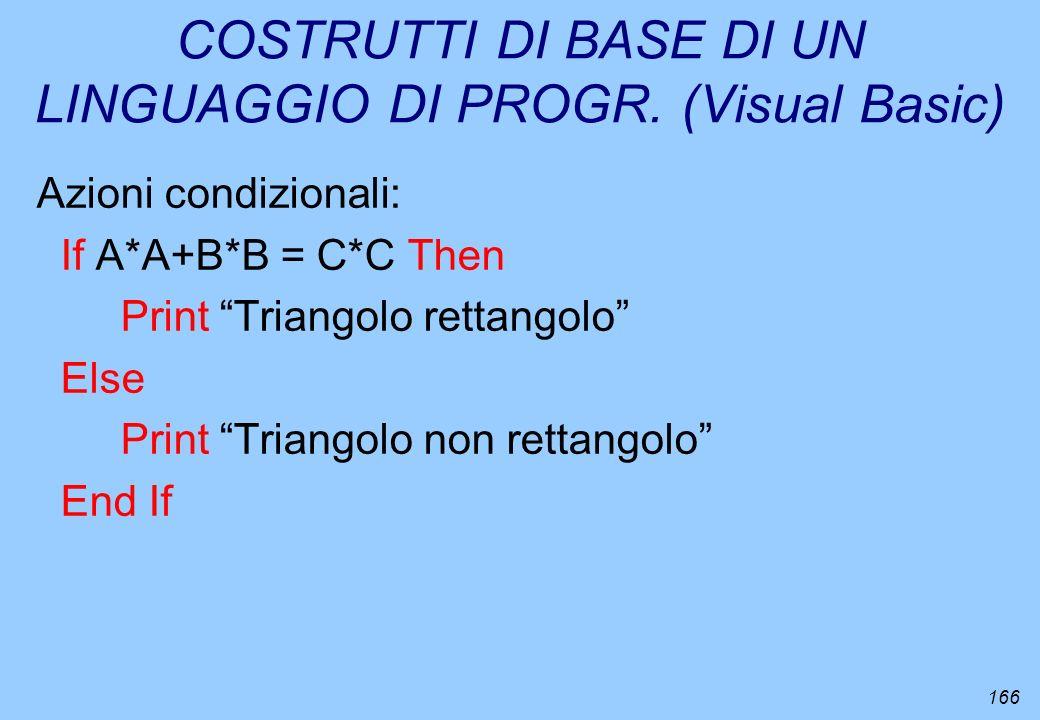 COSTRUTTI DI BASE DI UN LINGUAGGIO DI PROGR. (Visual Basic)
